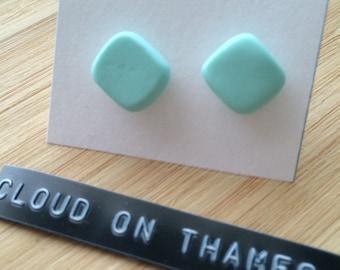 Mint Square Stud Earrings