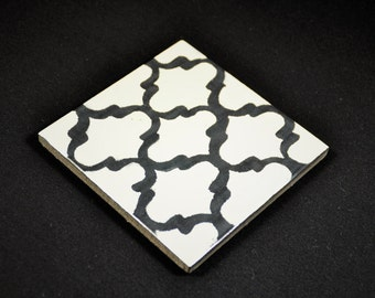 Coasters, decorative tiles, black and white, turquoise, ceramic tile coasters, 10 x 10, Oriental, boho, Morocco