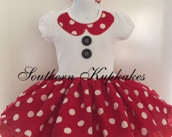 Girls Minnie Mouse Disney Inspired Twirl Dress Custom Costume Boutique Pageant Party All Sizes Red White Black Polka Dots