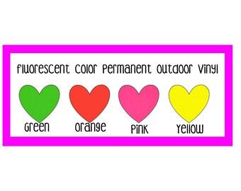 "12x12"" Fluorescent Adhesive Vinyl, Permanent Outdoor Adhesive Vinyl, Fluorescent Pink Green Orange & Yellow"