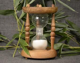 Vintage Wooden Hourglass Egg Timer 3 Minutes, Handmade Hourglass, TimerHourglass Sand Timer Natural Wood