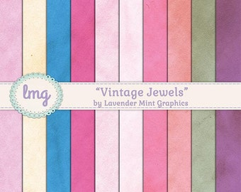 Vintage Digital Scrapbook Papers - Vintage Jewels - Shabby Chic, Rustic Digital Paper, Pastel Papers , Instant Download, Commercial Use