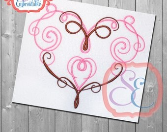 HEART SWIRL 1 Design For Machine Embroidery INSTANT Download