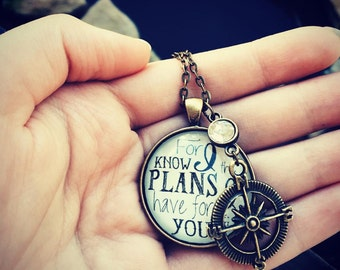 For I know the plans I have for you glass dome necklace