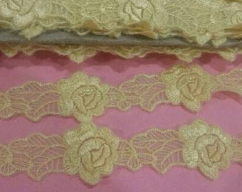 2 Yards YELLOW Lace Trim Floral Flower Lace Trimming 1 Inch Wide