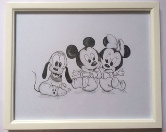 Minnie Mouse, Mickey Mouse, Pluto, hand drawn with frame