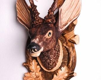wooden carving bust of a deer - wooden bust - wooden deer - collectible deer bust [WD-206]