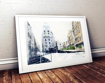 Handmade Original Painting, Acrylic, Abstract, Cityscape, Urban landscape