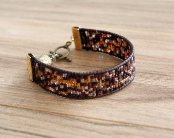 Gem tones woven bead bracelet
