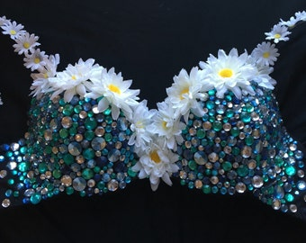 Blue/Teal/Silver and Black Rave Bra with Daisies/Flowers