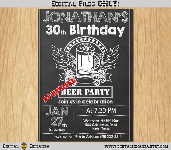 30th Birthday Invitation Cheers And Beers Invite Surprise
