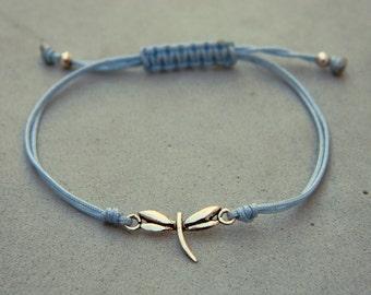 Dragon-fly bracelet. Sterling silver bracelet.Tiny silver bead bracelet. Silver beaded bracelet. Friendship bracelet. Cord bracelet.C031
