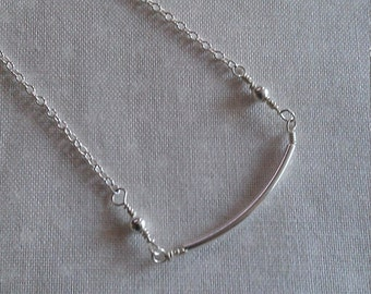 sterling silver pendant , handmade sterling silver necklace, sterling silver beads.68