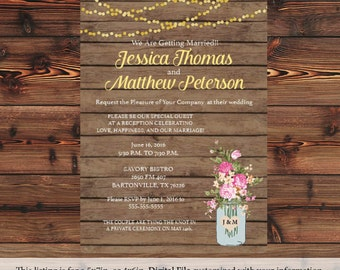 Rustic Mason Jar Wedding Invitation Country Wedding
