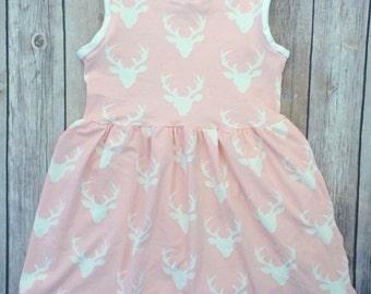 Girls sleeveless dress, summer casual dress, baby dress, pink deer heads, sleeveless or short sleeve