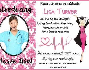 nurse graduation invitation  etsy, invitation samples