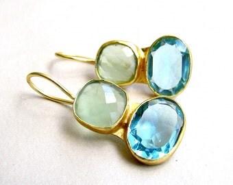 Green & Topaz Blue Crystal Drop Earrings - Everyday Wear Earrings from Enhara Jewels