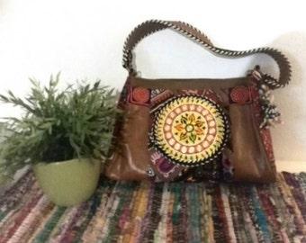 Leather Gipsy Bag, Vintage Fabrics, Glass Beads