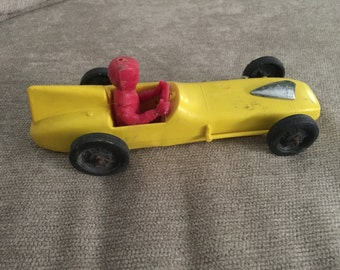 Vintage Plastic Toy Race Car with driver
