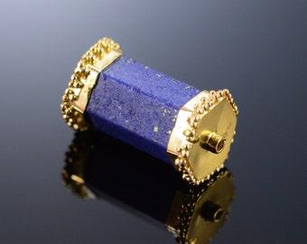 18K Fancy Blue Lapis Bead Pendant Yellow Gold