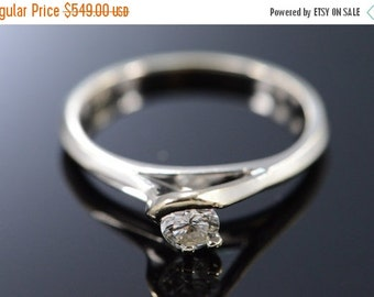 ON SALE 18K 0.25 Ct Round G / Vs1 Diamond Solitaire Engagement Ring Size 6 White Gold