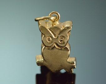 14K Petite Simple Owl Charm/Pendant Yellow Gold - EL9067