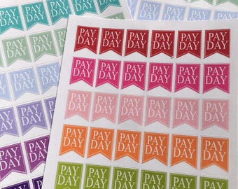 Pay Day Flag Pennants Stickers  (144 Planner Reminder Stickers)