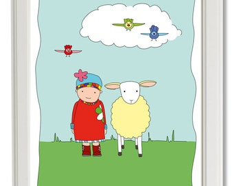 Girl and Sheep-Illustration-Print-Wall Decor-Art-Wall Art-Children-Kids-Baby-Nursery-Kids Bedroom-Children's Bedroom-School-Kindergarten