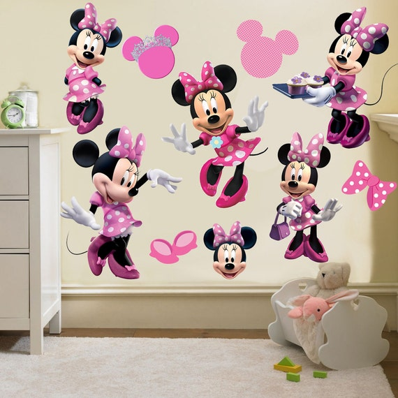 minnie mouse wall decal room decor by anotherhabit on etsy. Black Bedroom Furniture Sets. Home Design Ideas