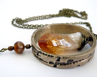 Citrine pendant long necklace and ring mysterious inscriptions, bronze paste, astronomy, original gift for her