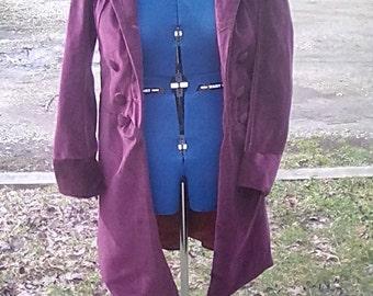 Fourth Doctor Burgundy Velvet Coat Replica
