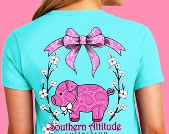 Southern Attitude Pig Short Sleeve - Sea Foam Green NEW