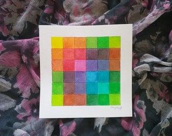 """Watercolor Pixel Art Original 8 x 8"""" Rainbow Colors"""