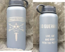 Guerrilla Outfitters engraved 32 ounce insulated stainless steel water bottle for hot and cold beverages - insulated water bottle