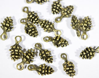 12 Pine Cone Charms - Bronze Pine Cones - Nature Charms - Bronze Charms - Pine Tree charms - Tree Charms - Miniature Pine Cones - BR1147