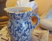 Vintage Creamer Milk Pitcher, Pottery Small PITCHER, RRP&Co, Robinson Ransbottom, Roseville Ohio, Sponge Ware, Blue on cream