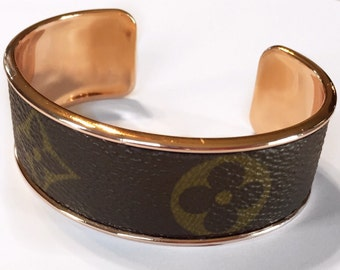 Louis Vuitton Bracelet Cuff made with Authentic Upcycled Canvas in Gold or Rosegold