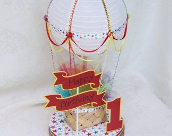 Hot Air Balloon cake topper or centerpiece - RAINBOW //  Hot Air Balloon Decoration // Hot Air Balloon Party Supplies