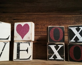 Valentines Day Blocks, Valentines day Tile, Love & XOXO block set, Valentines Day Decor
