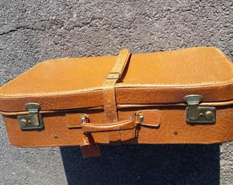 Vintage 1960's Brown Leather Suitcase
