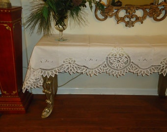 Vintage Battenberg Lace, Paper White, 30 x 90 inch,  Dresser Scarf, Panio Cover, Buffet Table Cover, Shabby Chic