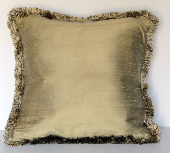 Large Gold Decorative Throw Silk Pillow With Fringe For Sofa