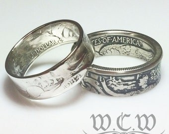 Silver Walking Liberty Coin Ring - United States Half Dollar