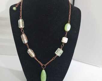 FREE SHIPPING Copper chain opaque green & lamp work beads Y necklace w/ extender Boho Southwest Country Native American jewelry handmade