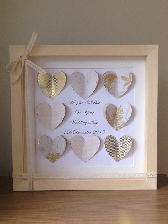 Wedding Gift Box Frame : Wedding gift shadow box frame ~ personalised wedding gift ~ 3d hearts ...