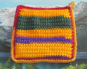 Upcycle hand crochet double thick hot pad UHP 015