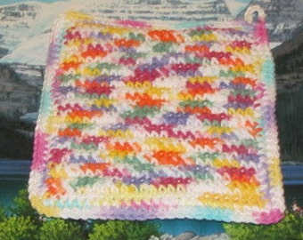 Upcycle hand crochet double thick hot pad UHP 017