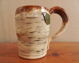Birch bark look coffee mug