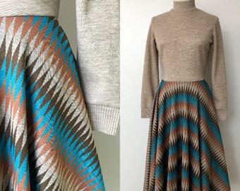 1970's Turtleneck Diamond Print Day Dress