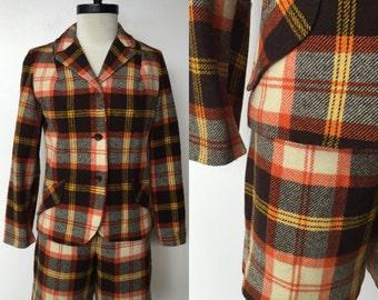 1970's Bobbie Brooks Wool Plaid Two Piece Jacket & Shorts Set